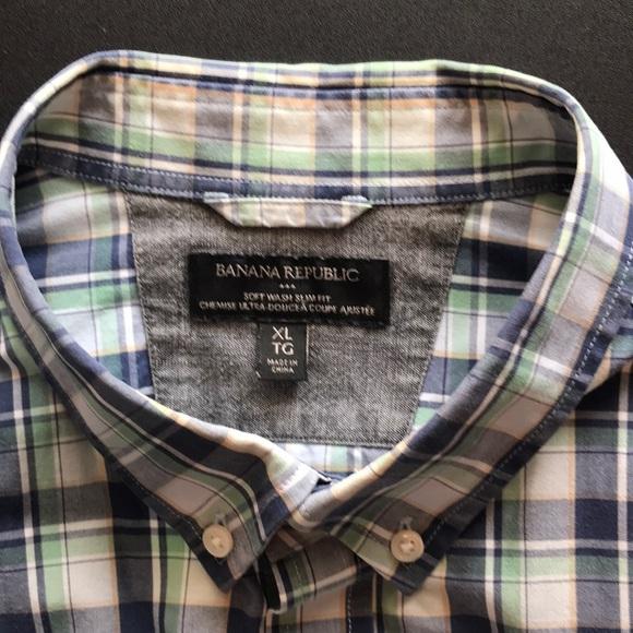 Green/Blue Plaid XL Softwash Banana Republic Shirt